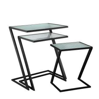 Dreisatztisch in Schwarz und Transparent Strukturglas Tischplatten (dreiteilig)