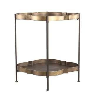 Metall Wohnzimmertisch in Altgoldfarben gebogener Tischplatte