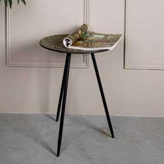 Metall Beistelltisch mit runder Tischplatte Antik Finish