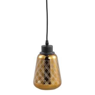Glas Hängelampe in Goldfarben und Schwarz modernem Design