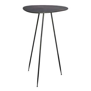 Telefontisch mit Tischplatte in Wankelform Metall schwarz