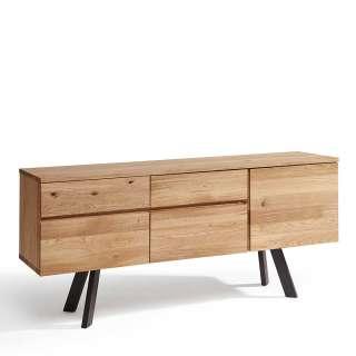 Wildeiche Sideboard aus Massivholz und Metall 3 Türen 2 Schubladen