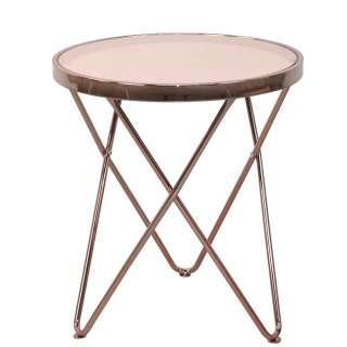 Wohnzimmer Tisch in Rosegold Spiegelglasplatte