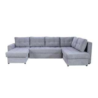 XL Wohnzimmercouch in Grau Webstoff Bettkasten und Schlaffunktion