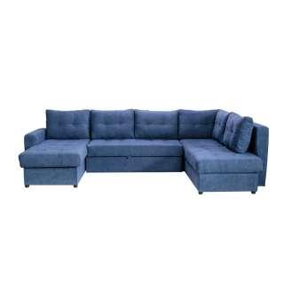Couchlandschaft in Dunkelblau Webstoff Schlaffunktion und Bettkasten