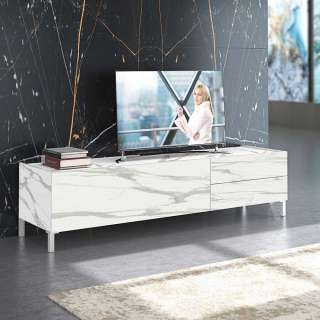 TV Möbel in Weiß und Hellgrau Marmoroptik zwei Schubladen