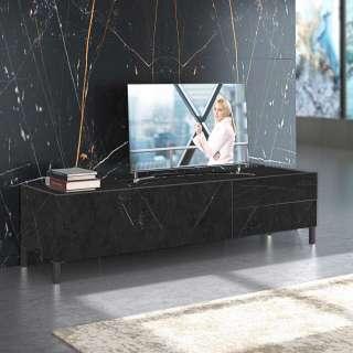 TV Unterschrank in Marmor Optik Schwarz und Hellgrau