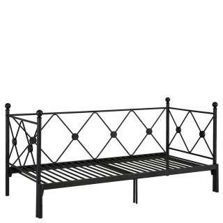 Vintage Metall Bett in Schwarz 28 cm Einstiegshöhe