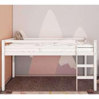 Kinderzimmer Hochbett in Weiß Kiefer Massivholz