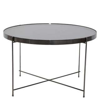 Glas Tisch in Schwarz Stahl und Spiegelglas