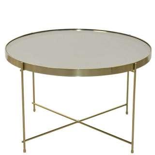 Wohnzimmer Tisch mit Spiegelglasplatte Goldfarben und Cremeweiß