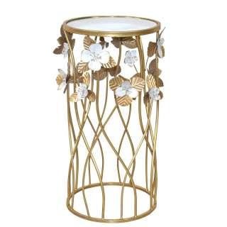 Designtisch im Vintage Look Metallgestell mit Blumen