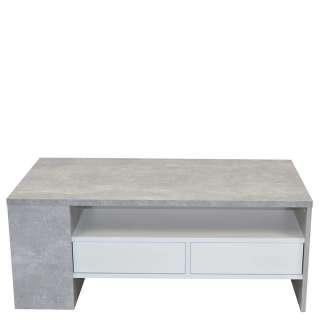 Wohnzimmer Tisch in Beton Optik und Weiß zwei Schubladen