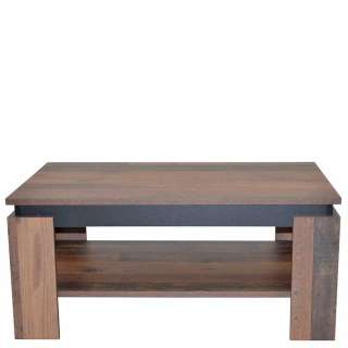 Wohnzimmer Tisch in Holz Antik Optik und Schwarz Ablage