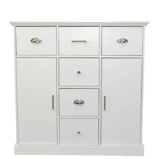Große Garderobenkommode in Weiß lackiert 6 Schubladen 2 Türen