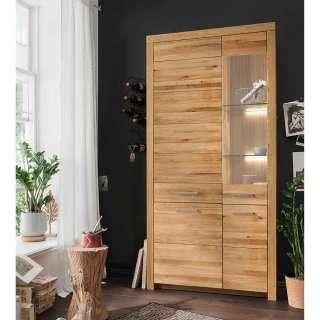 XL Wohnzimmervitrine aus Wildeiche Massivholz 4 Türen mit Soft Close