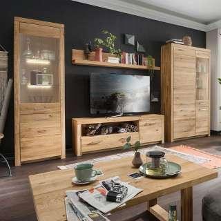 Wohnzimmerwand modern aus Wildeiche Massivholz geölt (vierteilig)