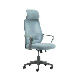 Hoher Bürodrehstuhl mit Kopfstütze Hellblau und Grau