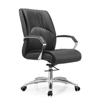 Bürodrehstuhl in Schwarz und Silberfarben gepolsterter Rückenlehne