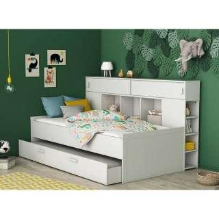 Funktions Jugendbett in Weiß einem Ausziehbett