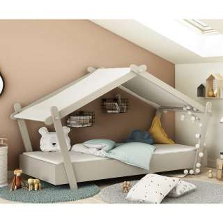 Kinderzimmerbett Haus in Hellgrau Dach