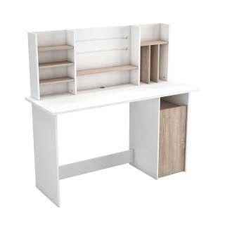 Schreibtisch in Eichefarben und Weiß Kabeldurchlass