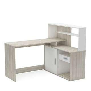 Schreibtisch Kombination in Eichefarben und Weiß Schrankgestell