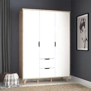 Schlafzimmerschrank in Sonoma Eiche und Weiß 3 Türen 2 Schubladen