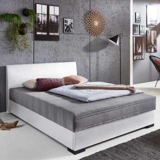 Kunstleder Polsterbett mit weißem Bezug Bettkasten
