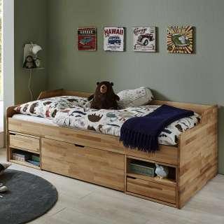 Kojen Bett aus Buche Massivholz lackiert viel Stauraum