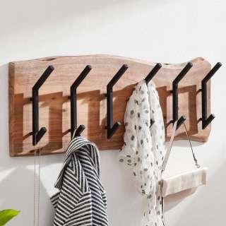 Wandgarderobe aus Akazie Massivholz und Metall Baumkante
