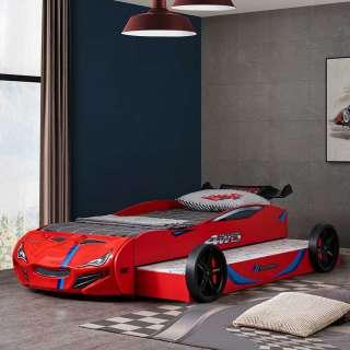 Rennwagenbett mit zweiter Liegefläche Rot Bunt