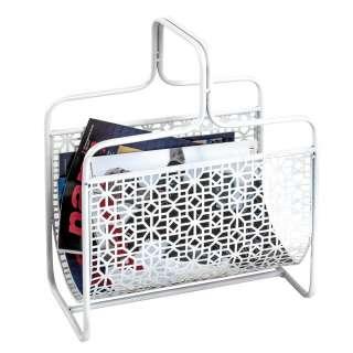 Zeitschriftenständer modern in Weiß lackiert Metall
