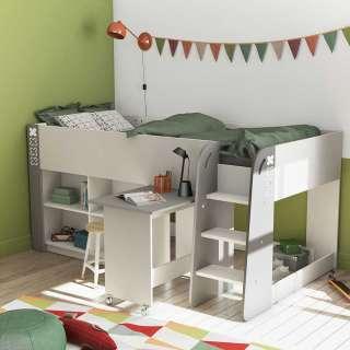 Kinderzimmerbett in Weiß und Grau Regal und Schreibtisch
