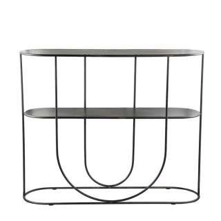 Raumteiler Regal aus Metall in Schwarz 2 Böden