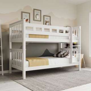 Holz Stockbett aus Buche weiß lackiert 2 Liegeflächen