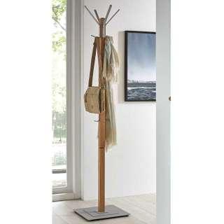 Garderobenständer aus Eiche Massivholz und Metall 10 Kleiderhaken