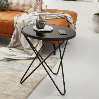 Moderner Glastisch mit Metall Dreifußgestell Schwarz
