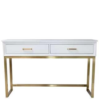 Konsolentisch in Weiß und Goldfarben lackiert zwei Schubkästen