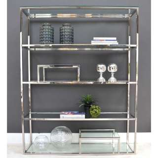 Design Raumteiler Regal aus Edelstahl poliert mit Glasablagen 180 cm hoch