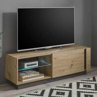 Modernes TV Board in Wildeiche Optik und Dunkelgrau Klappe und Gerätefach