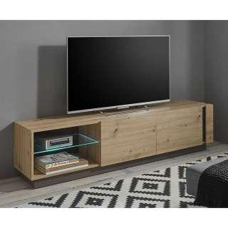 Modernes TV Lowboard in Wildeiche Optik und Dunkelgrau 188 cm breit
