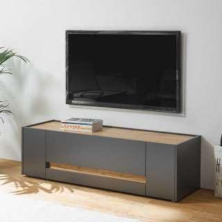 TV Lowboard in Anthrazit und Wildeiche Optik 140 cm breit