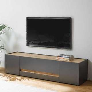 TV Board in Anthrazit und Wildeiche Optik 170 cm breit