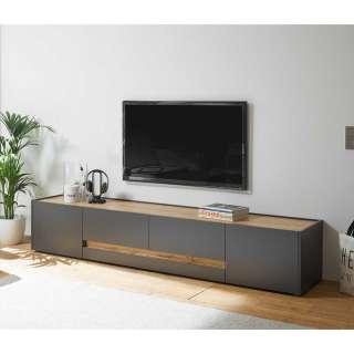 TV Lowboard in Anthrazit und Wildeiche Optik 220 cm breit