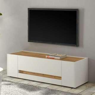 TV Unterschrank in Weiß und Wildeiche Optik 140 cm breit