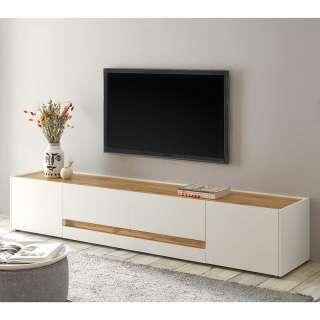 TV Lowboard in Weiß und Wildeiche Optik 220 cm breit