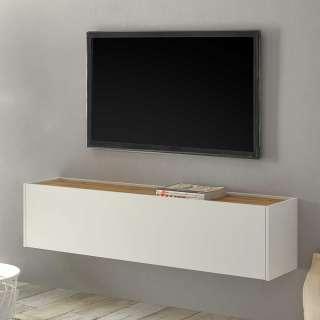 Wohnzimmer Hängeschrank in Weiß und Wildeiche Optik Klappe
