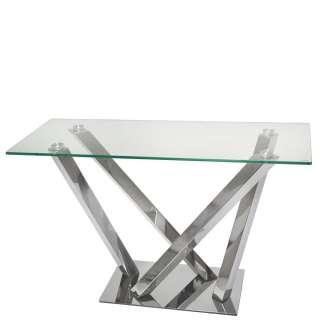 Design Konsolentisch aus Glas und Edelstahl Mikado Fußgestell