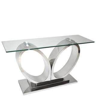 Design Konsolen Tisch aus Glas und Edelstahl Säulengestell 140 cm breit
